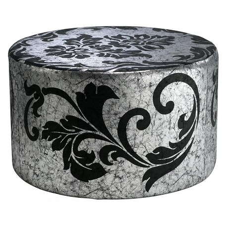 Cyan Designs Silver And Black 14.5In. York Round Ottoman