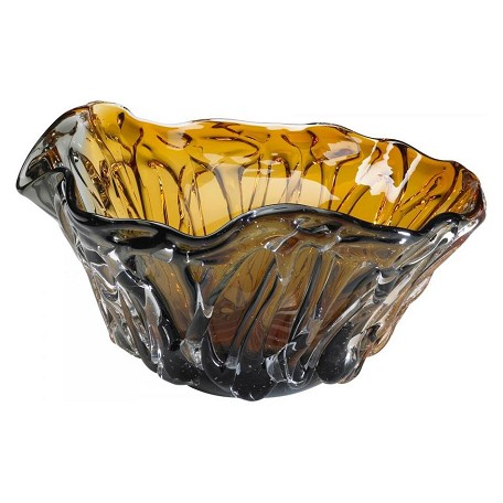 Cyan Designs Amber / Smoked 12in. Duo Art Glass Bowl