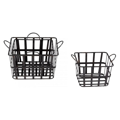 Cyan Designs Raw Steel 16.5in. Wire Grocery Basket