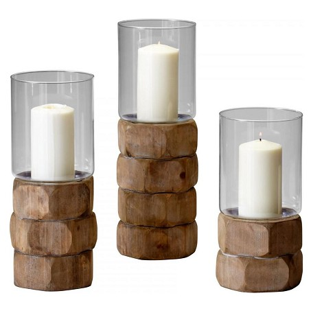 Cyan Designs Natural Wood Large Hex Nut Candleholder