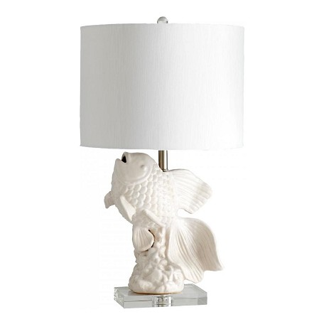 Cyan Designs White and Cream Glaze Seaside 1 Light Table Lamp