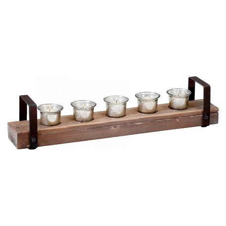 Cyan Designs Raw Iron and Natural Wood Clifton Candleholder