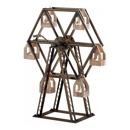 Cyan Designs Raw Iron and Natural Wood Ferris Wheel Candleholder