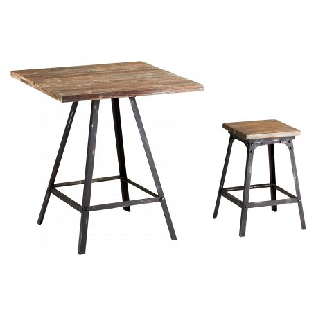 Cyan Designs Raw Iron / Natural Wood 19in. Redmond Stool