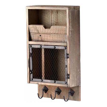 Cyan Designs Raw Iron and Natural Wood Casey Wall Organizer