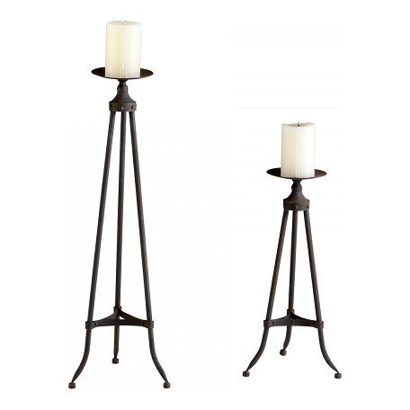 Cyan Designs Raw Steel Small Milton Candlesticks