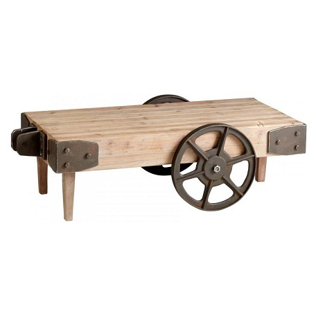 Cyan Designs Raw Iron and Natural Wood Wilcox Cart Table