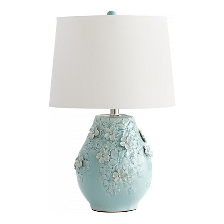 Cyan Designs Sky Blue Glaze Eire 1 Light Table Lamp with Flower Ceramic Base