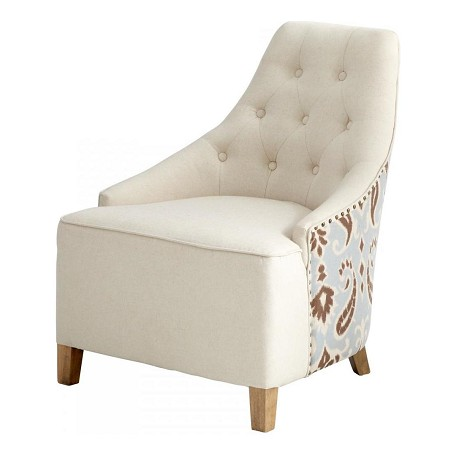 Cyan Designs White Linen / Patterned Fabric Ms. Analise Chair