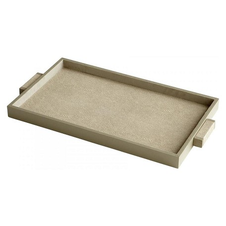 Cyan Designs Shagreen Melrose 22 Inch Wide Leather and Wood Tray