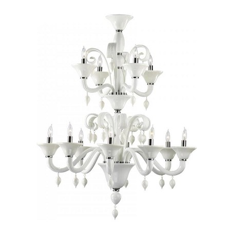 Cyan Designs Twelve Light Chrome White Murano Glass Up Chandelier