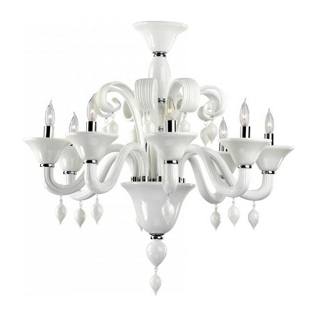 Cyan Designs Eight Light Chrome White Murano Glass Up Chandelier