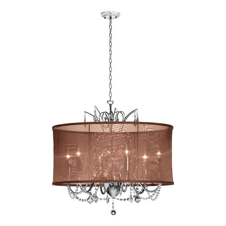 Dainolite Six Light Chrome Drum Shade Pendant