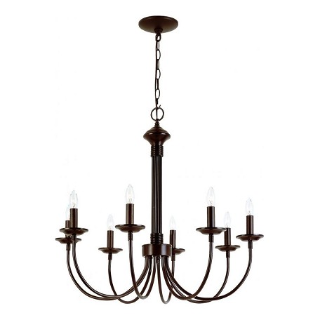 Trans Globe Eight Light Rubbed Oil Bronze Up Chandelier