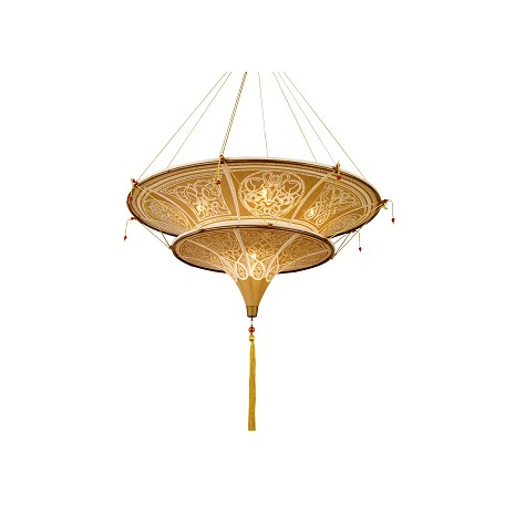 Bethel 6 Light Light Brown Fabric Shade Ceiling Lamp