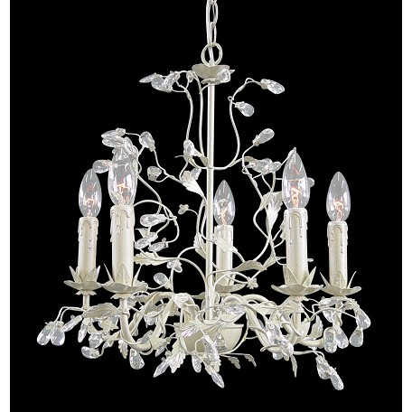 Bethel 5 Light Silver/Crm Leaf Clear Crystal Ceiling Fixture
