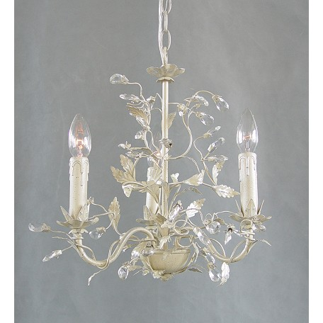 Bethel 3 Light Silver Leaf Clear Crystal Ceiling Fixture