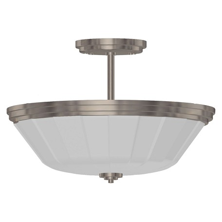 Artcraft Two Light Chrome Satin Acid Frosted Reeded Glass Bowl Semi-Flush Mount