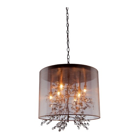 Artcraft Eight Light Bronze Organza Shade Drum Shade Pendant