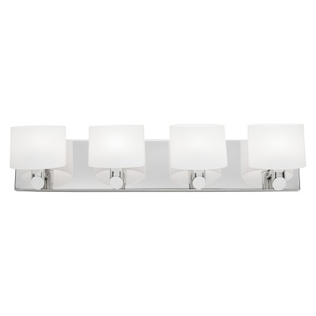 Artcraft Four Light Chrome Frosted White Glass Vanity