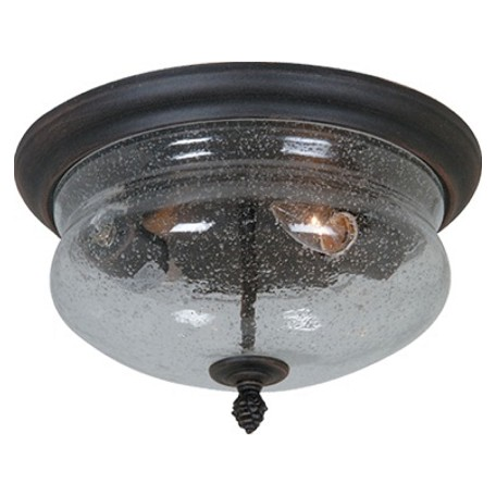 Artcraft Two Light Seeded Clear Glass Rich Bronze Outdoor Flush Mount Ac8246bz From Premiere