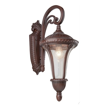 Artcraft One Light Seeded Clear Glass Mahogany Wall Lantern