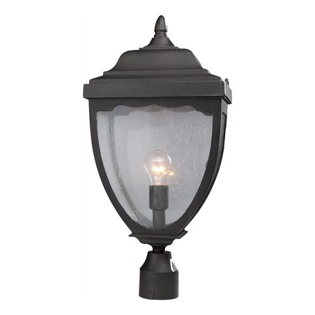 Artcraft One Light Black Clear Seeded Glass Post Light