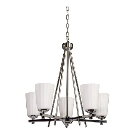 Artcraft Five Light Chrome Satin Acid Frosted Reeded Glass Up Chandelier