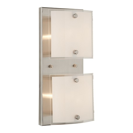 Artcraft Two Light Brushed Nickel Frosted Glass Vanity