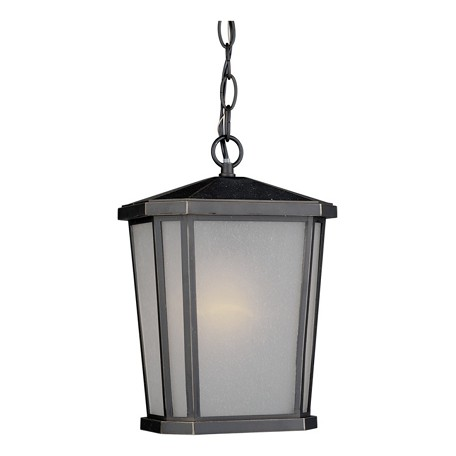 Artcraft One Light Oil Rubbed Bronze Interior-White, Outer-Etched Glass Hanging