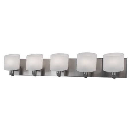 Artcraft Five Light Brushed Nickel Frosted White Glass Vanity