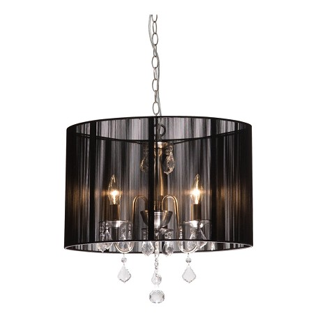 Artcraft Four Light Polished Nickel Silk String Shade Drum Shade Chandelier