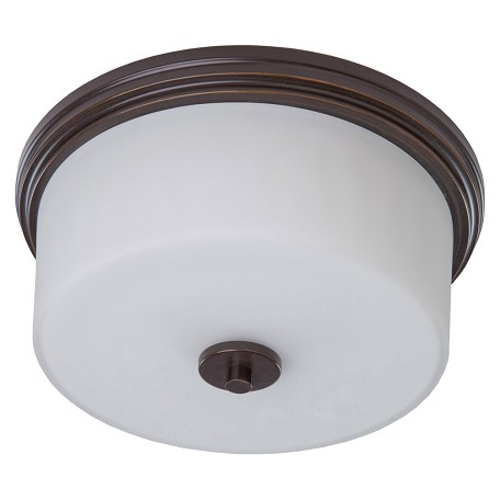Artcraft Two Light Oil Rubbed Bronze Clean Opal White Glass Drum Shade Flush Mo