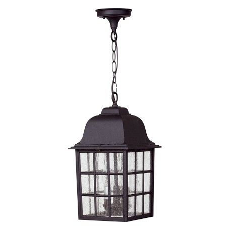 Craftmade Matte Black Grid Cage 3 Light Rectangular Outdoor Pendant - 8.5 Inches Wide