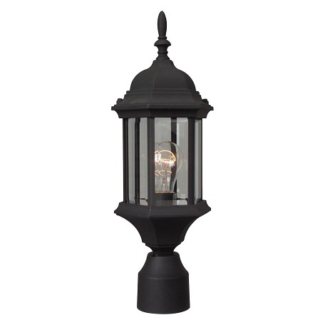Craftmade Post Mount Light With Clear Glass Shades, Black Finish