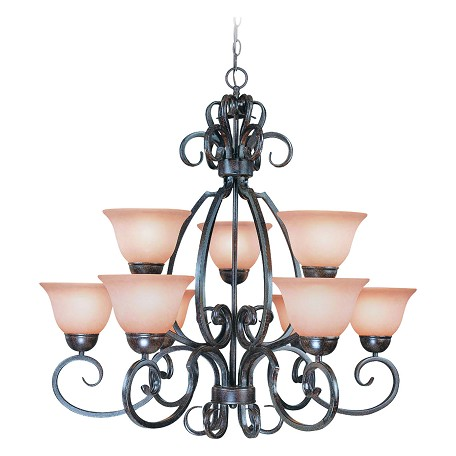 Craftmade Nine Light Forged Metal Painted Glass Up Chandelier