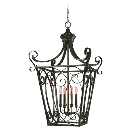 Craftmade Four Light English Toffee Open Frame Foyer Hall Fixture