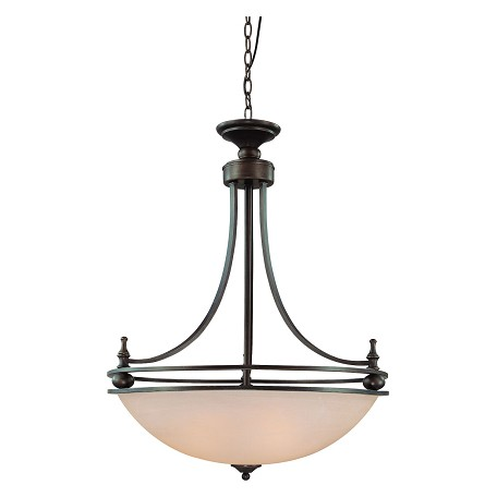 Craftmade Four Light Old Bronze Faux Alabaster Shade Up Pendant