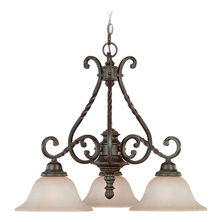 Craftmade Three Light English Toffee Faux Alabaster Shade Down Chandelier