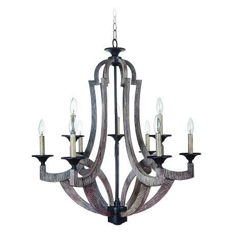 Craftmade Nine Light Weathered Pine Up Chandelier Wood