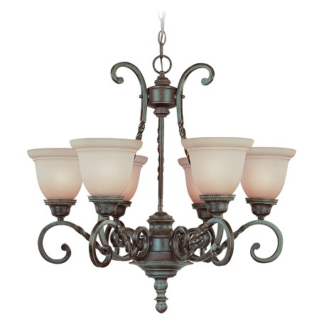 Craftmade Six Light English Toffee Faux Alabaster Shade Up Chandelier