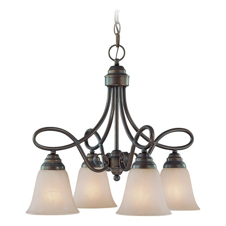 Craftmade Four Light Old Bronze Faux Alabaster Shade Down Chandelier