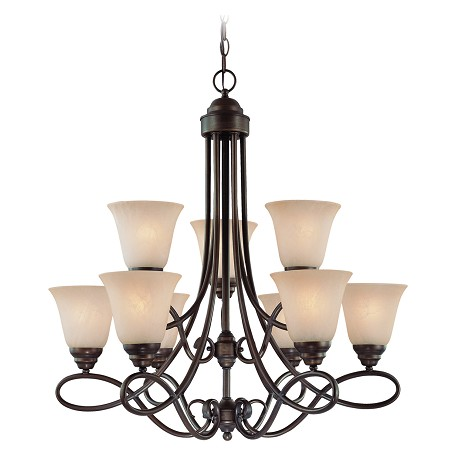 Craftmade Nine Light Old Bronze Faux Alabaster Shade Up Chandelier