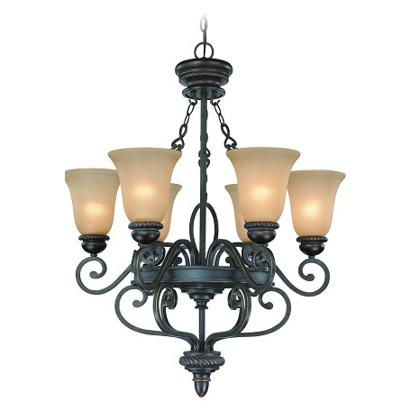 Craftmade Six Light Mocha Bronze Painted Etched Glass Up Chandelier