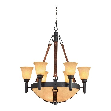 Kalco Nine Light Black Stone And Gold-Streaked Amber Glass Up Chandelier