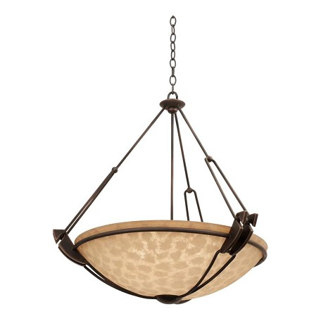 Kalco Six Light Antique Copper Smoked Taupe Glass Up Pendant