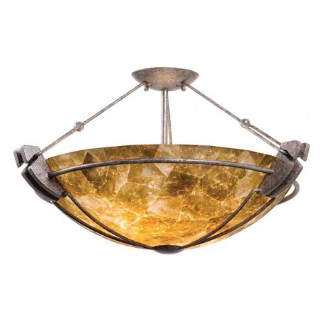 Kalco Three Light Vintage Iron Buddha Leaf Glass Bowl Semi-Flush Mount