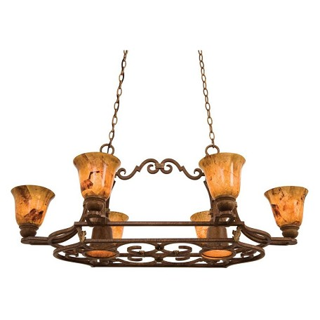 Kalco Eight Light Antique Copper Fading-Edge Taupe Glass Pot Rack