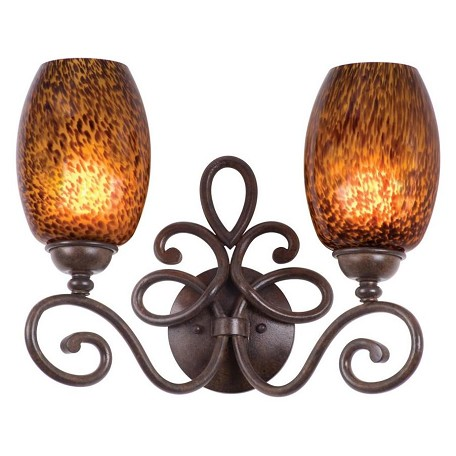 Kalco Two Light Tortoise Shell Champagne Small Oval Glass Vanity