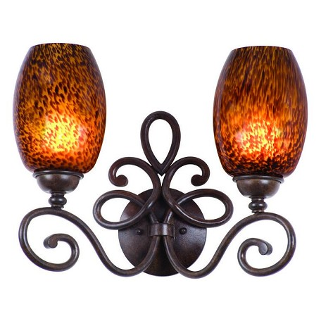 Kalco Two Light Tortoise Shell Buddha Leaf Glass Vanity